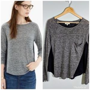 Madewell | Linen Ragalan Style Blue Gray Top